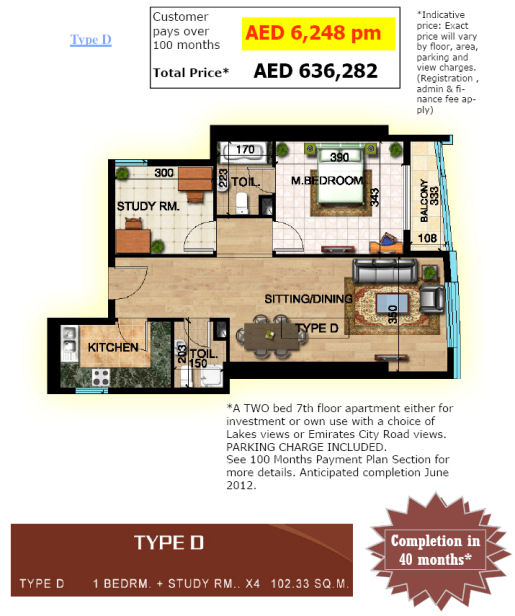 Type D Pricing and Layout at Sapphire City, Emirates City